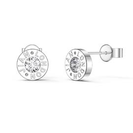 Charmisma Moissanite Platinum plated Silver Dainty Stud Earrings