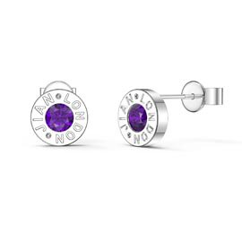 Charmisma Amethyst Platinum plated Silver Dainty Stud Earrings