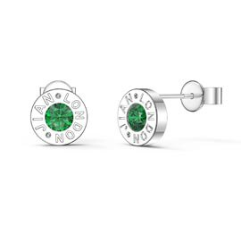 Charmisma Emerald Platinum plated Silver Dainty Stud Earrings
