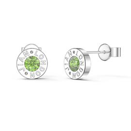 Charmisma Peridot Platinum plated Silver Dainty Stud Earrings