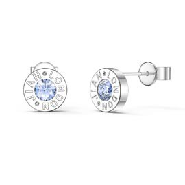 Charmisma Aquamarine Platinum plated Silver Dainty Stud Earrings