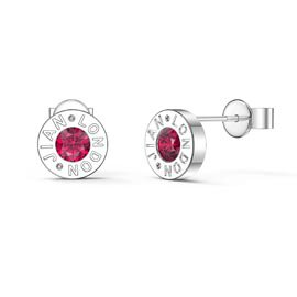 Charmisma Ruby Platinum plated Silver Dainty Stud Earrings
