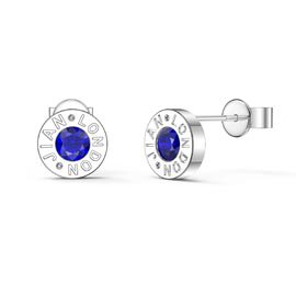 Charmisma Sapphire Platinum plated Silver Dainty Stud Earrings