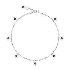 Charmisma Amethyst Platinum plated Silver Drop Anklet