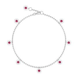Charmisma Ruby Platinum plated Silver Drop Anklet