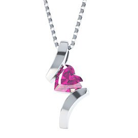 Combinations Pink Sapphire Heart Pendant