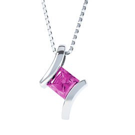 Combinations Pink Sapphire Square Pendant