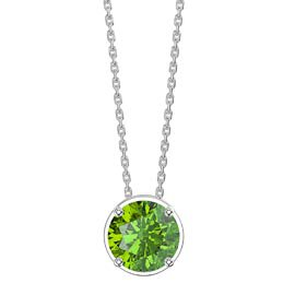Eternity 1.0ct Solitaire Peridot Platinum plated Silver Pendant