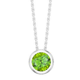 Infinity 1.0ct Solitaire Peridot Platinum plated Silver Bezel Pendant