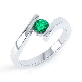Combinations Emerald Round Stacking Silver Ring