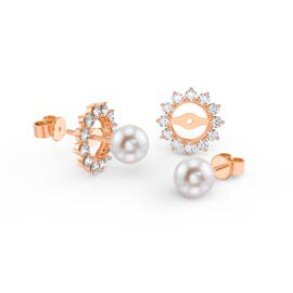 Fusion Pearl 18ct Rose Gold Vermeil Stud Starburst Earrings Halo Jacket Set