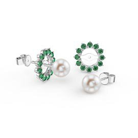 Fusion Pearl Platinum plated Silver Stud Emerald Earrings Halo Jacket Set