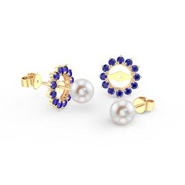 Fusion Pearl 18ct Gold Vermeil Stud Sapphire Earrings Halo Jacket Set