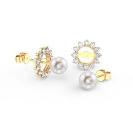 Fusion Pearl 18ct Gold Vermeil Stud Starburst Earrings Halo Jacket Set