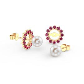 Fusion Pearl 18ct Gold Vermeil Stud Ruby Earrings Halo Jacket Set