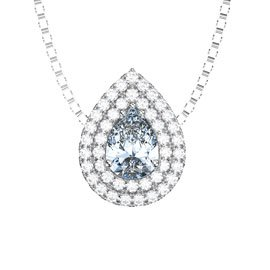 Fusion Aquamarine and White Sapphire Halo Platinum plated Silver Pear Pendant