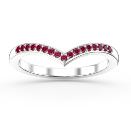 Unity Wishbone Ruby Platinum plated Silver Promise Ring