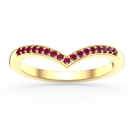 Unity Wishbone Ruby 18ct Yellow Gold Vermeil Promise Ring
