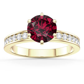 Unity 1ct Ruby and White Sapphire 18ct Gold Vermeil Channel Promise Ring