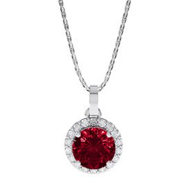 Eternity 0.5ct Ruby Halo Platinum plated Silver Pendant