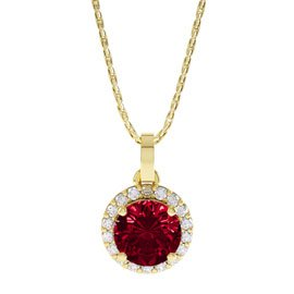 Eternity 0.5ct Ruby Halo 18ct Gold Vermeil Pendant