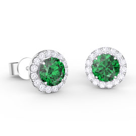 Eternity 1ct Emerald Halo Platinum plated Silver Stud Earrings