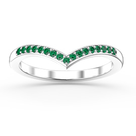 Unity Wishbone Emerald Platinum plated Silver Promise Ring