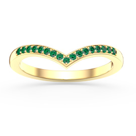 Unity Wishbone Emerald 18ct Gold Vermeil Promise Ring