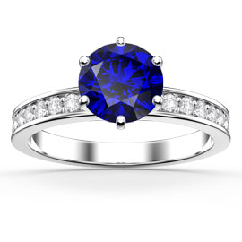 Unity 1ct Blue and White Sapphire Platinum plated Silver Channel Promise Ring