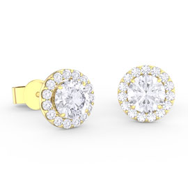 Eternity 1ct White Sapphire Halo 18ct Gold Vermeil Stud Earrings