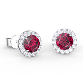 Eternity 1ct Ruby Halo Platinum plated Silver Stud Earrings