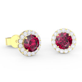 Eternity 1ct Ruby Halo 18ct Yellow Gold Stud Earrings