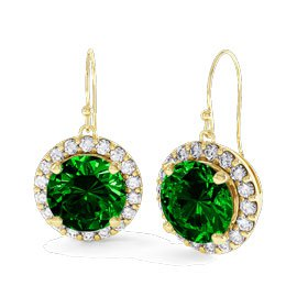 Eternity 1ct Emerald Halo 9ct Yellow Gold Drop Earrings