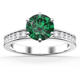 Unity 1ct Emerald and White Sapphire Platinum plated Silver Channel Promise Ring