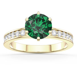 Unity 1ct Emerald and White Sapphire 18ct Gold Vermeil Channel Promise Ring
