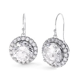 Eternity 1ct White Sapphire Halo Platinum plated Silver Drop Earrings