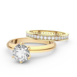 Unity 1ct White Sapphire Solitaire 18ct Gold Engagement Ring and Full Channel Eternity Ring Set