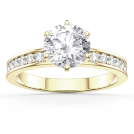 Unity 1ct White Sapphire 18ct Gold Vermeil Channel Set Promise Ring