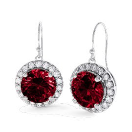 Eternity 1ct Ruby Halo Platinum plated Silver Drop Earrings