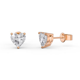 Charmisma 1ct White Sapphire Heart 18ct Rose Gold Vermeil Stud Earrings