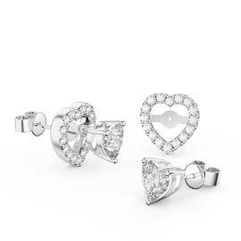 Charmisma Heart White Sapphire Platinum Plated Silver Stud Earrings Halo Jacket Set