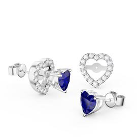 Charmisma Heart Blue and White Sapphire Platinum Plated Silver Stud Earrings Halo Jacket Set