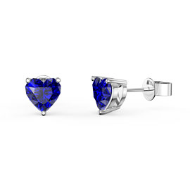 Charmisma 1ct Blue Sapphire Heart 9ct White Gold Stud Earrings