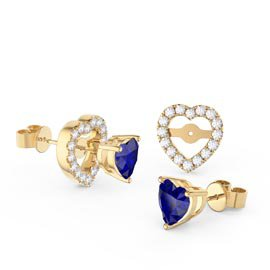Charmisma Heart Blue and White Sapphire 18ct Gold Vermeil Stud Earrings Halo Jacket Set