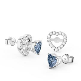 Charmisma Heart Aquamarine  and White Sapphire Platinum Plated Silver Stud Earrings Halo Jacket Set