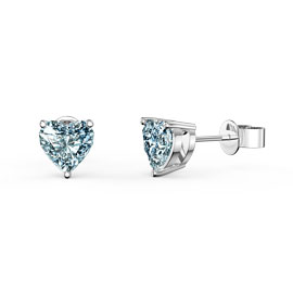 Charmisma 1ct Aquamarine Heart Platinum Plated Silver Stud Earrings