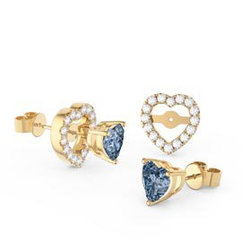 Charmisma Heart Aquamarine  and Moissanite 18ct Yellow Gold Stud Earrings Halo Jacket Set