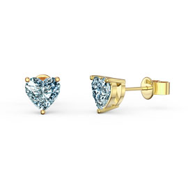 Charmisma 1ct Aquamarine Heart 18ct Gold Vermeil Stud Earrings