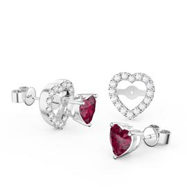Charmisma Heart Ruby and White Sapphire Platinum Plated Silver Stud Earrings Halo Jacket Set