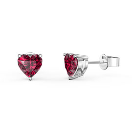 Charmisma 1ct Ruby Heart Platinum Plated Silver Stud Earrings